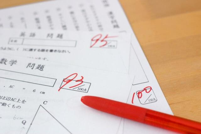 塾のテスト答案
